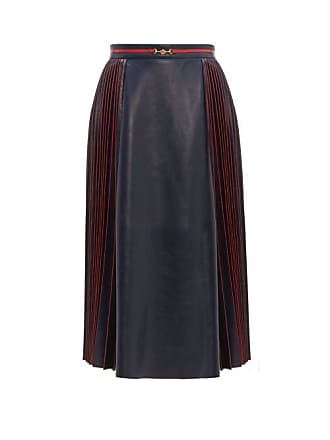 1d59dc04d Gucci Pleated Leather Midi Skirt - Womens - Navy Multi