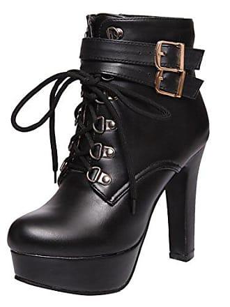 e953bd2a42f76a Aiyoumei Damen Winter Stiletto High Heels Plateau Stiefeletten mit Schnalle  und Schnürung Modern Perty Stiefel