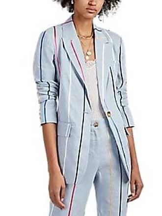 ff67a7a643be4 Derek Lam Womens Striped Linen-Blend One-Button Blazer - Lt. Blue Size