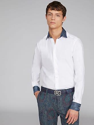 Etro Zweistoff-hemd Mit Paisley-details, Herren, Weiß, Größe 38