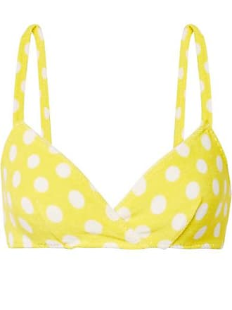 875aea8e459aa Lisa Marie Fernandez Yasmin Polka-dot Stretch-cotton Terry Bikini Top -  Bright yellow