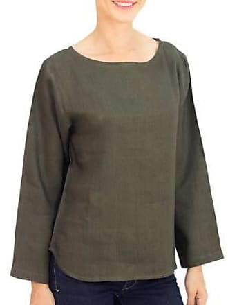 Novica Linen blouse, Natural Expression in Loden