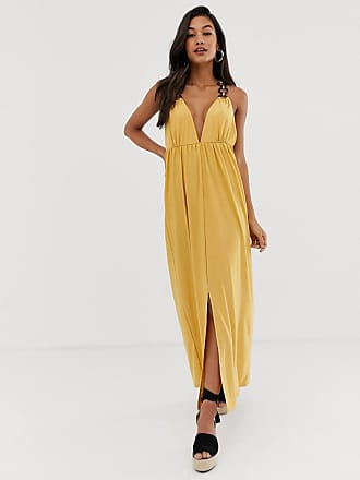 Asos slinky maxi dress with ring detail - Yellow