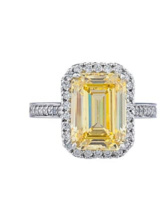 Fantasia 14kt White Gold Antique Pave-Set Canary Emerald Cut Ring - UK I 1/2 - US 4 1/2 - EU 48 1/2