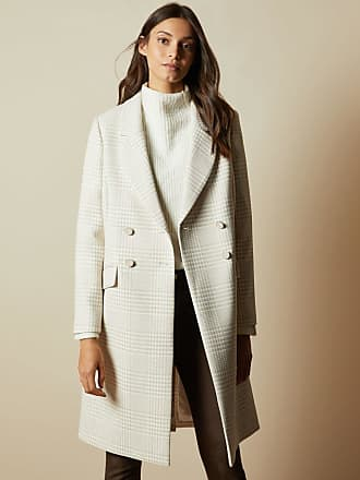Ted Baker Double Breasted Checked Coat in Natural SOPHILI, Womens Clothing