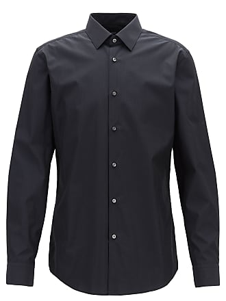 BOSS Slim-fit shirt in dobby Egyptian cotton