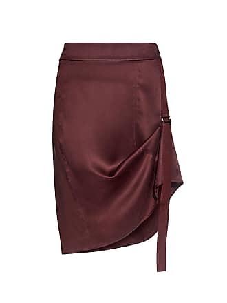 Public School Sana Belt Side Detail Silk Skirt Burgundy