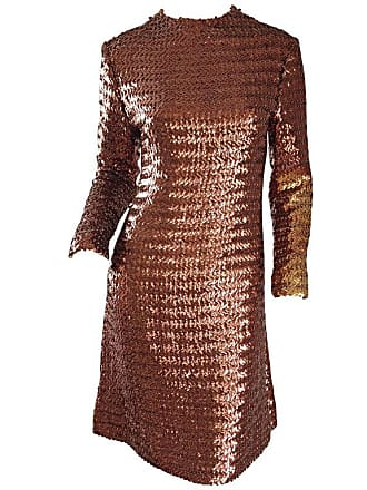 5fe4d13832 Suzy Perette 1960s Suzy Perette Bronze Ombre Fully Sequined A Line Vintage  Long Sleeve Dress