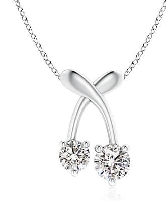 Angara Valentine Day Sale - Two Stone Diamond Cherry Pendant