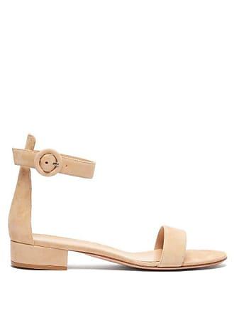 c3184fc0926 Gianvito Rossi Portofino 20 Block Heel Suede Sandals - Womens - Nude