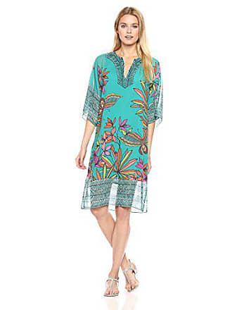 Trina Turk Womens Joceline Papillion Palm Print Dress, Cabana Teal, 0