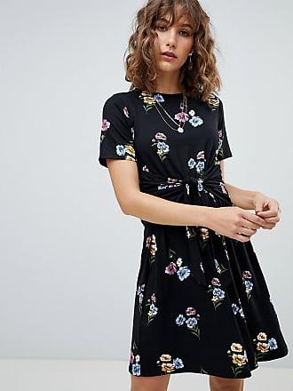 Warehouse Blommig skaterklänning med knytning framtill - Blommigt mönster 3cb01d9dd992f