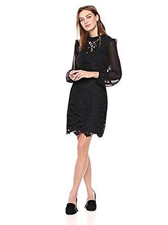 Kensie Womens Cutout Lace Front Dress, Black, S