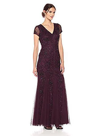 Adrianna Papell Womens Short Sleeve Fully Beade Long Gown with Grid Pattern, deep Amethyst, 2