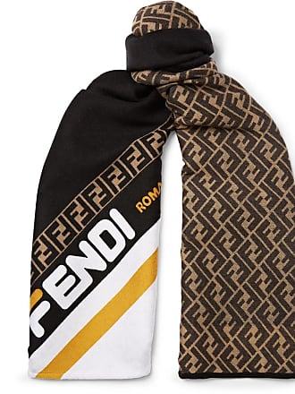 Fendi Logo-jacquard Wool And Silk-blend Scarf - Black