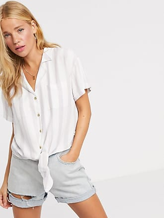 Hollister tie front stripe shirt in white-Blue