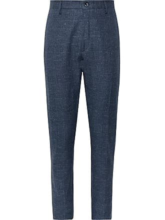 Zanella Navy Noah Slim-fit Prince Of Wales Checked Linen-blend Trousers - Navy