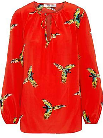 6fa7721946e8e Diane Von Fürstenberg Diane Von Furstenberg Woman Bow-detailed Printed  Washed-silk Blouse Red