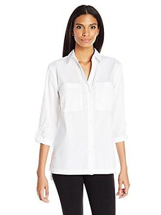 Jones New York Womens Cotton Equipment Shirt, White, S