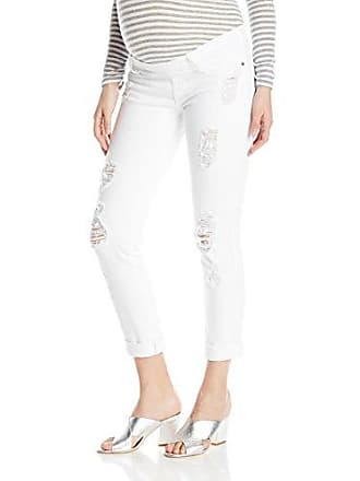92dd4b92d1e1b James Jeans Womens Neo Beau Under-Belly Maternity Boyfriend in Destroyed  White, 28