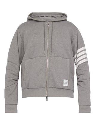 Thom Browne Down Filled Zip Through Cotton Hooded Sweatshirt - Mens - Light Grey