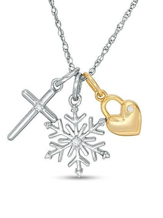 Zales Diamond Accent Cross, Snowflake and Heart Lock Charms Pendant in Sterling Silver and 14K Gold Plate