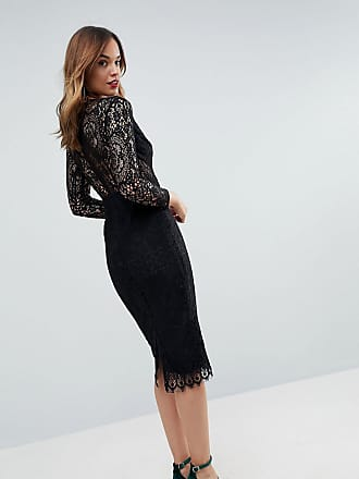e879a318517 Asos ASOS Long Sleeve Lace Midi Pencil Dress - Black