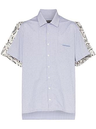 Y / Project Camisa de algodão com estampa paisley e xadrez - Azul