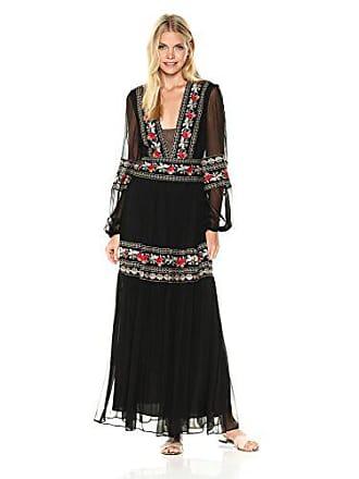 Bcbgmaxazria BCBGMax Azria Womens Selene Woven Long Sleeved Embroidered Dress, Black Combo 8