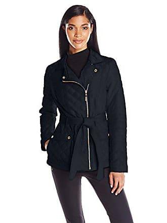 Kensie Womens Asymmetrical Diamond Quilt Coat, Navy X-Small