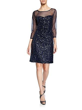 Karl Lagerfeld Sequin Sweetheart Illusion 3/4-Sleeve Dress