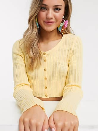 In The Style x Meggan Grubb button crop knit in lemon-Yellow