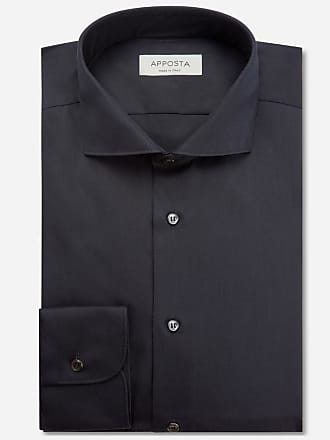 Apposta Shirt solid black 100% non-iron cotton poplin, collar style lower spread collar