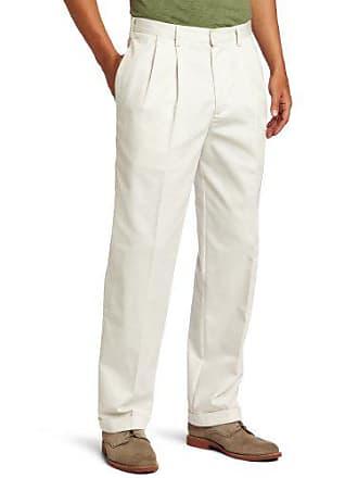 Izod Mens Big and Tall Pleated Extended Twill Pant, Stone, 48W x 32L