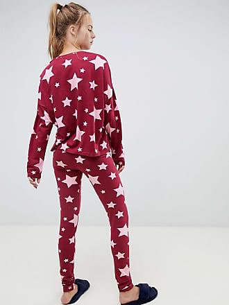 Asos star long sleeve boxy pyjama tee and legging set - Red 65891f335
