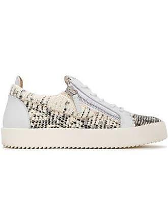 ee48c462cb3f Giuseppe Zanotti Giuseppe Zanotti Woman Snake-effect Leather Sneakers Ivory  Size 36