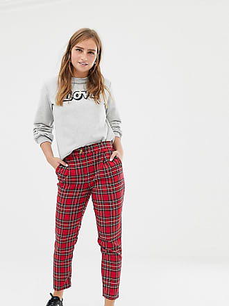 New Look tapered pants in red plaid - Red