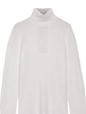 Elie Tahari Elie Tahari Woman Maelee Ribbed Merino Wool Turtleneck Sweater Ivory Size M