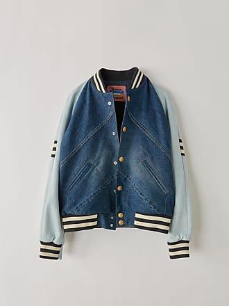 Acne Studios BK-UX-OUTW000006 Indigo blue Denim letterman jacket