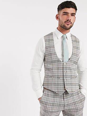 Topman skinny fit checked suit waistcoat in beige-Stone