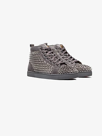 ee34bf24e81 Christian Louboutin shadow grey Louis studded suede hi top sneakers