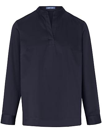blauwe satijnen blouse