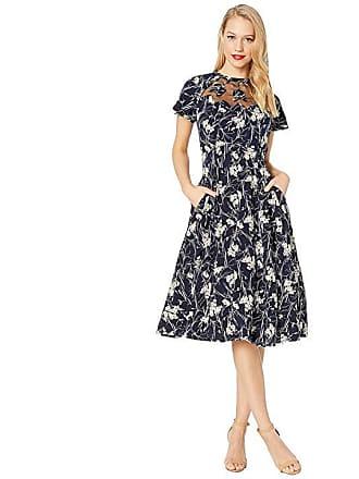 7d477d1ddf5a Unique Vintage 1940s Style Jessie Swing Dress (Navy Tulip Print) Womens  Dress