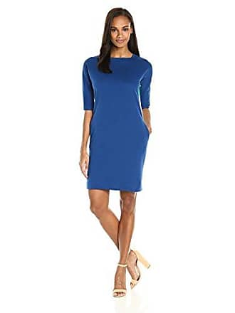 Joan Vass Womens Colorblock Cotton Interlock Dress, Azure Combo XS