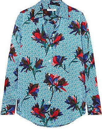 Equipment Equipment Woman Essential Floral-print Washed-silk Shirt Light Blue Size XS