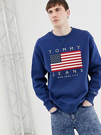 6d961450 Tommy Jeans US Flag Capsule logo print crew neck sweatshirt in dark blue