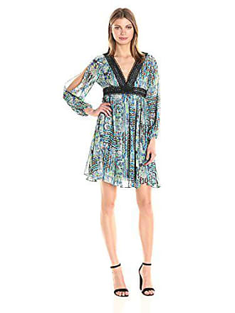 7b3d1fbf970d Betsey Johnson Womens Chiffon Boho Dress, Turquoise Black/Multi 12