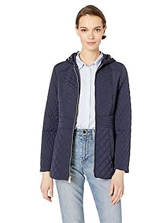 Jones New York Womens Hooded Midweight Quilted Jacket, Midnight, M