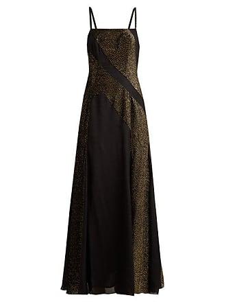 Zeus + Dione Martina Crepe And Devoré Velvet Dress - Womens - Black Gold