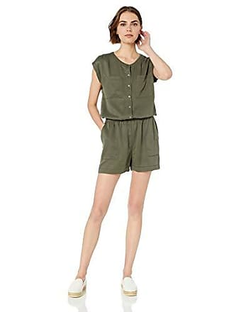 Daily Ritual Womens Tencel Short-Sleeve Utility Romper, Dark Olive, 12